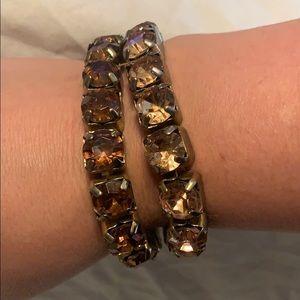 set of two stretchy amber/gold bracelets
